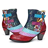 gracosy Womens Leather Ankle Boots Low Block Heel Boots Winter Fur Lined Warm Snow Boots Genuine Leather Retro Bohemian Splicing Pattern with Zipper Anti-Slip Vintage Chunky Heel Red-Blue 4.5 UK