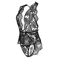 Avidlove Women One Piece Lingerie Lace Bodysuit Deep V Teddy Mini Babydoll Black