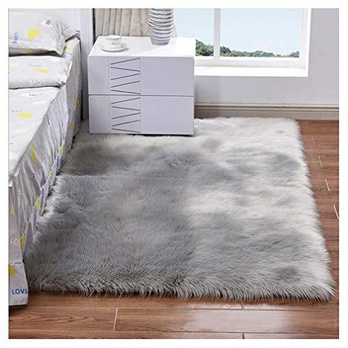 JINXIULL Spitzenqualität Lammfellimitat Teppich 80 x 150 cm Lammfellimitat Teppich Longhair Fell Nachahmung Wolle Bettvorleger Sofa Matte (Grau)