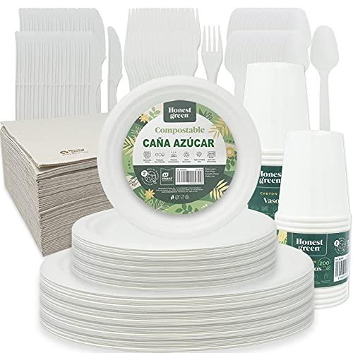 Honest Green Vajilla Desechable Biodegradable,Plato Redondo Blanco Caña de Azúcar,Vaso Cartón,Servilleta Doble Capa y Cubierto Reutilizable,Reciclable Compostable y Resistente,350pcs