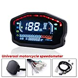 Luixxuer LCD Digital Speedometer Motorbike Odometer Gauge Motorcycle Tachometer Oil Level Meter with Blacklight Universal for Motorcycle