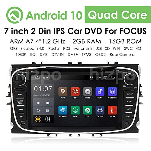 hizpo Android 10 Autoradio Stereo DVD-Player Kopfeinheit 7 Zoll Touchscreen In Dash GPS DVD-Player Unterstützung 4G WiFi USB SD CAM-IN OBD2 DAB + DVR für Ford Mondeo S-max Focus Galaxy C-max