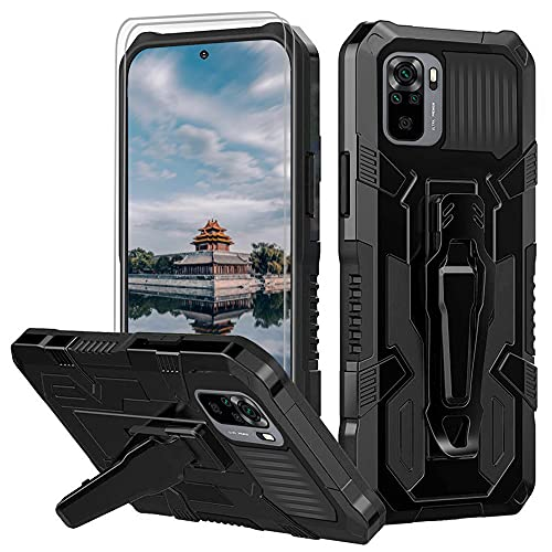 for Xiaomi Redmi Note 10 4G/Redmi Note 10S Case with [2 Pack] Tempered Glass Screen Protector Rugged Hybrid Dual Layer Military-Grade Phone Cover Case with Belt Clip for Redmi Note 10 4G Case -Black
