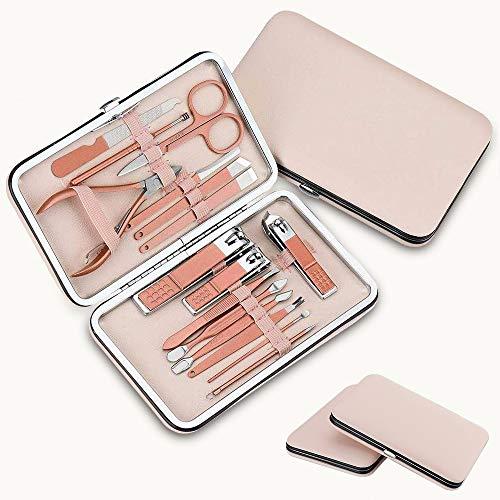 Manicure Set per donna, COCOFLY 16 Pezzi Tagliaunghie Set, Acciaio Inox Set Pedicure Manicure Professionale per Cura Quotidiana delle unghie con una Custodia in Pelle