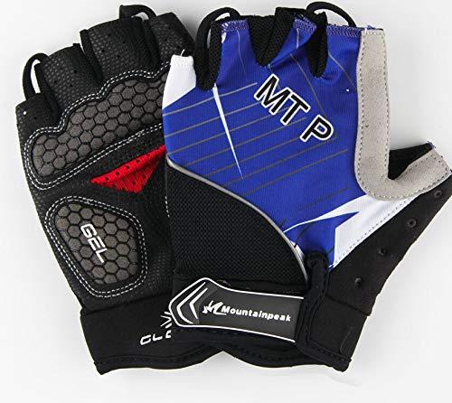 Ridding Gloves Half Finger Cycling Gloves Women Men Gym Sport Gloves Bike Bicycle Gloves MTB Road Bike Guantes Ridding Gel Racing Cycle Gloves (Color : NO 14 Blue, Size : M)