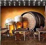 Papel pintado de diseño 3D de cerveza de barril papel tapiz fotográfico papel tapiz no tejido papel tapiz no Pared Pintado Papel tapiz 3D Decoración dormitorio Fotomural sala sofá mural-350cm×256cm