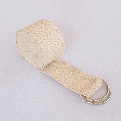 HealthAndYoga(TM) - Cinghie da yoga in twill di cotone non elasticizzato, con fibbia in metallo con anelli a D, lunghezza 15 cm e 20 cm (20 cm naturale)
