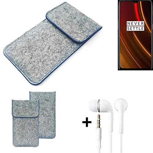 K-S-Trade Filz Schutz Hülle Für OnePlus 6T McLaren Edition Schutzhülle Filztasche Pouch Tasche Handyhülle Filzhülle Hellgrau, Blauer Rand + Kopfhörer