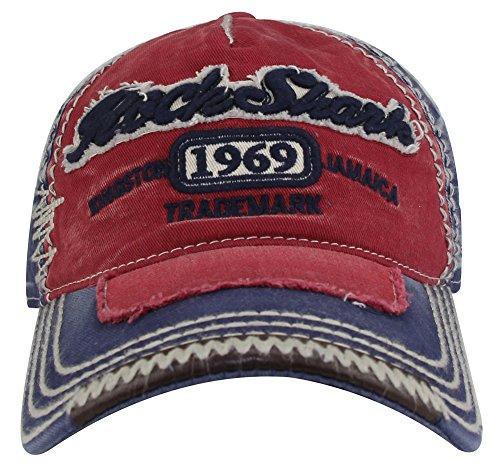 MINAKOLIFE Herren RockShark Kingston 1969 Jamaika Distressed Vintage trucker- Baseball Kappe Hut (Rot)