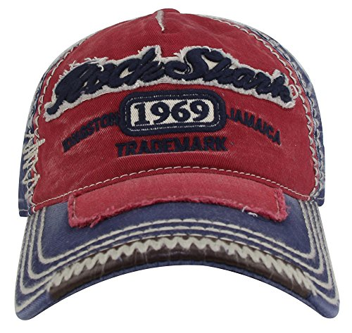 MINAKOLIFE Herren RockShark Kingston 1969 Jamaika Distressed Vintage trucker- Baseball Kappe Hut (Rot)
