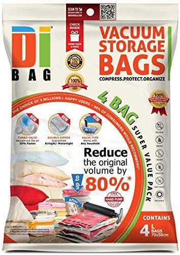 DIBAG - Vakuumbeutel - Vakuum Aufbewahrungsbeutel - 4 Vakuum Kleiderbeutel Platzsparer – Beutelgröße: 70 x 50 cm – Luftdichte Plastik-Kompressionsbeutel zur Aufbewahrung von Kleidung , Bettdecken , Re