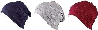 PLOVZ 3 Pack Women's Chemo Cap Sleeping Hat Headcover for Cancer Hair Loss