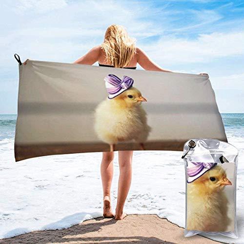 Toalla de Playa 27.5 'X 55',Pollo Lady Microfibra de Arena Ultra Suave Portátil Absorbente de Agua Microfibra múltiple Manta de Toalla de Playa sin Arena