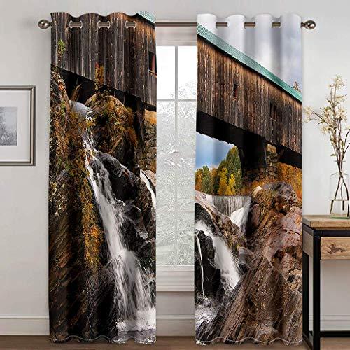 Cortinas Aislantes Térmicas Impresión 3D - con Ojales,Reducir el Ruido y Aislantes Térmicas - Decoración del hogar para salón y Dormitorio - Paisaje de Cascada 2X(140x180) cm