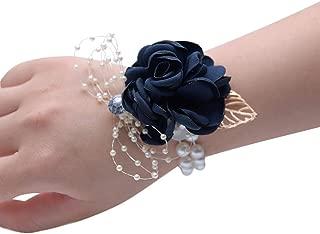 Jiecikou Wedding Bridesmaid Wrist Corsage Party Prom Wrist Flower Daddy-Daughter Dance 673 Dark Blue