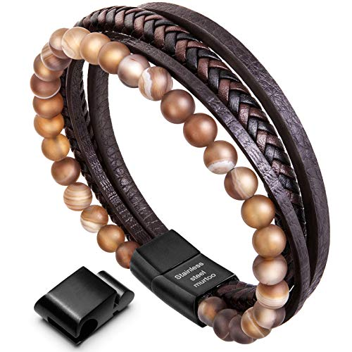 murtoo Mens Bead Leather Bracelet, Natural Bead, Steel and Leather Bracelet for Men Christmas Gift (brown bead)