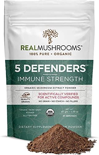 Real Mushrooms 5 Defenders Mushroom Extract Powder for Immune Support (45 Day Supply) Better Overall Wellbeing with Organic and Vegan Chaga, Shiitake, Maitake, Turkey Tail, Reishi Mushroom