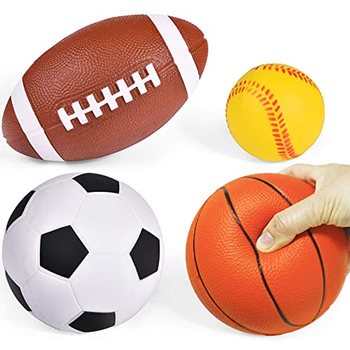 Liberty Imports Set of 4 Soft PU Mini Sports Balls for Kids (Football,...