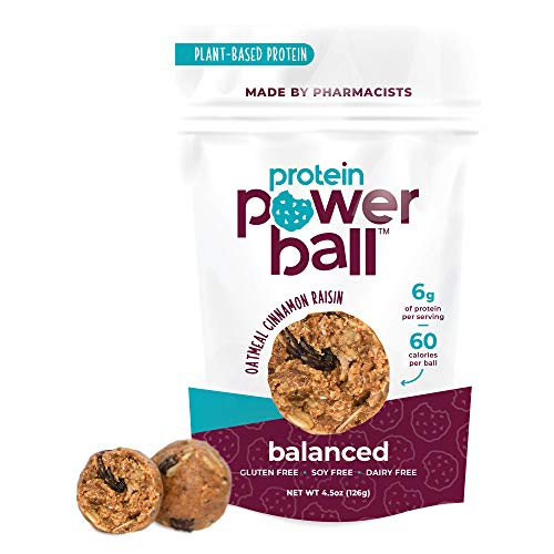 Protein Balls by Protein Power Ball | On-the-Go Snacks | Gluten Free, Dairy Free, Soy Free Snack | High Protein Energy Bites (Oatmeal Cinnamon Raisin, 1 Pack)