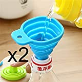 2Pcs/lots Silicone Gel Foldable Collapsible Style Funnel Hopper Kitchen cozinha cooking tools Accessories gadgets outdoor ? Color random?