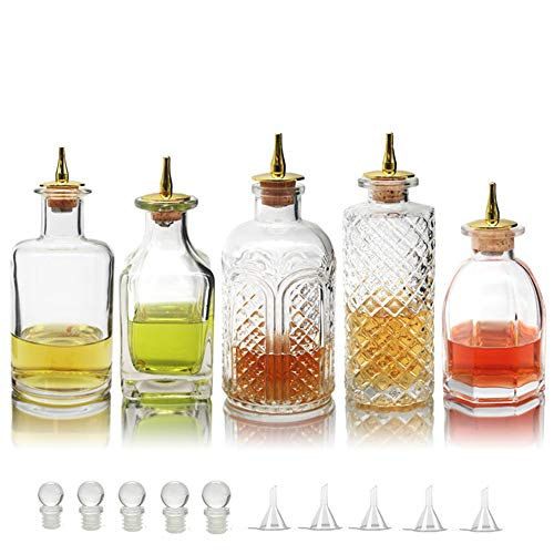 Bitters Bottle for Cocktails - Glass Bitters Bottle with Stainless Steel Dash Antique Design Professional Grade Home Ready Restaurantware - BTSET0002