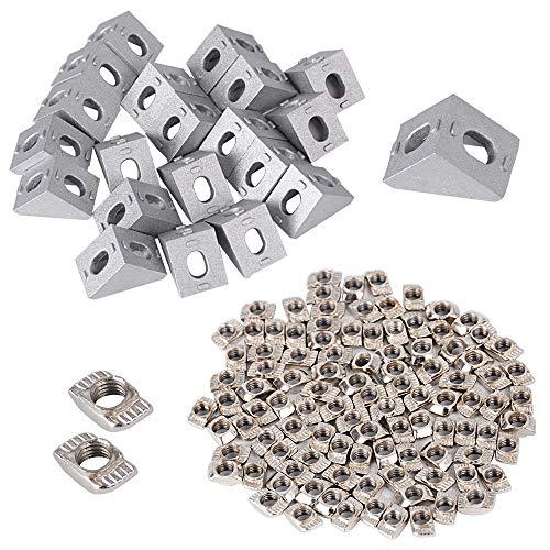 100 st T-muttrar M5 T-spårmuttrar hammarhuvud fästmutter sortiment sats för aluminiumprofil med 20 stycken hörnvinklar för 2020 aluminium extrusion