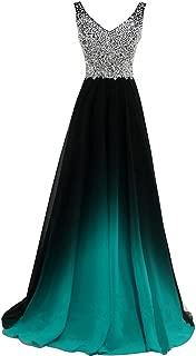 Women Formal Beaded Gradient Black Ombre Chiffon Long Prom Evening Dresses