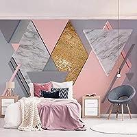 xueshao モダンピンクダイヤモンド幾何学写真壁画壁紙リビングルーム寝室ロマンチックアート壁布-280X253CM