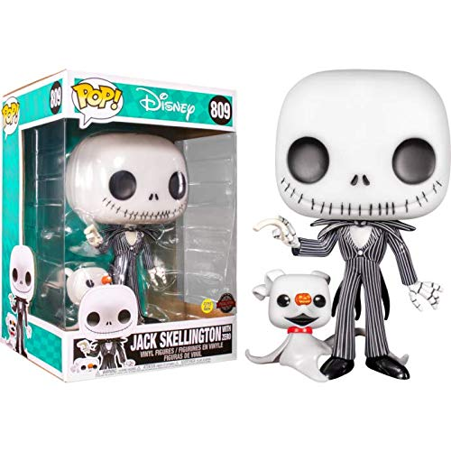 """POP! The Nightmare Before Christmas - Jack Skellington with Zero Glow in The Dark 10"""" Super Sized"""