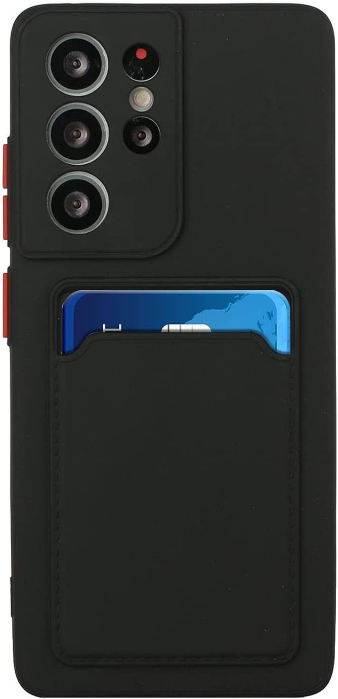 Silicone Wallet Case for Samsung Galaxy M02 - Slim Silicone Protective Case with Credit Card Holder Sleeve, Shockproof Wallet Card Pocket Cover for Women Men (Black)