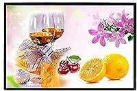 DIY クロスステッチキット、手作り刺繍キット 、11CT 図柄印刷 初心者 ホーム装飾 、壁の装飾 、クリスマス プレゼント, 赤ワインとフルーツ 40X50CM