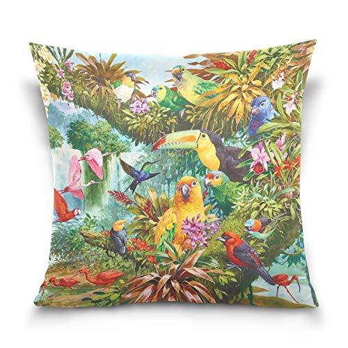 FULUHUAPIN Fundas de cojín de algodón con diseño de cascada de pájaros tropicales, diseño cuadrado, para sofá, decoración del hogar, 45,7 x 45,7 cm