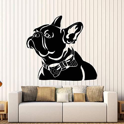 Negozio di animali Adesivo murale Animale domestico astratto Bulldog francese Papillon Tema animali Camera da letto Decorazione per la casa Vinile Adesivo per finestre Art Mural 42 * 45cm