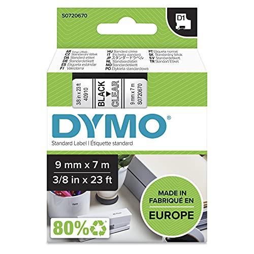 DYMO D1-Etikettenband Authentisch   schwarzer Druck auf transparentem Untergrund   9mm x 7m   selbstklebendes Schriftband   für LabelManager-Beschriftungsgerät