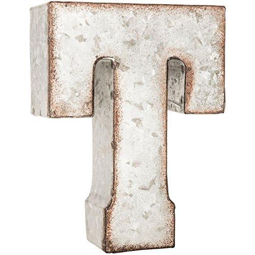Galvanized Metal 3D Letter T