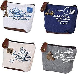 BETOY 4 pcs mini Portamonete Donna Sacchetto Monete Borsa Tela Vintage portafoglio da donna borsa portamonete piccolo cari...