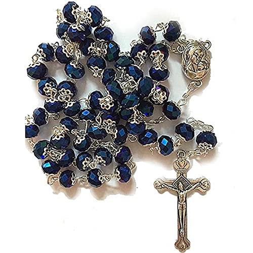 SWAOOS Rosario de Cristal de la Torá, Collar con Cruz, Cuentas de oración de Dios, Adornos religiosos