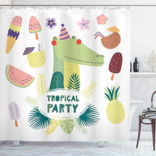 ABAKUHAUS Krokodil Duschvorhang, Tropical-Party Ice Cream, Trendiger Druck Stoff mit 12 Ringen Farbfest Bakterie & Wasser Abweichent, 175x240 cm, Mehrfarbig