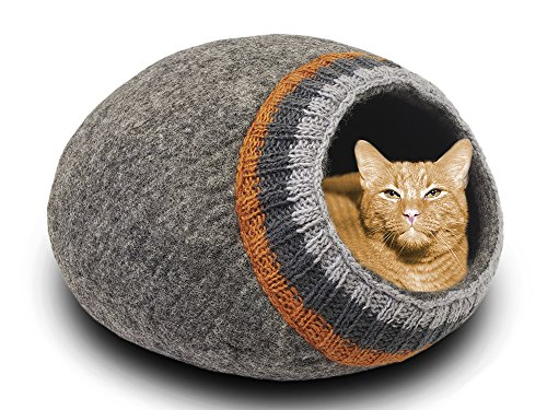 MEOWFIA Premium Wool Cat Bed Cave (Large) - Eco-Friendly 100% Merino Wool Felt Cat Bed (Large, Dark Gray with Knitting)