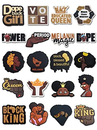 20PCS Black Lives Matter Shoe Charms fits for Clog Sandals PVC BLM Shoes Decorations for Black Women Girls Men Party Favor