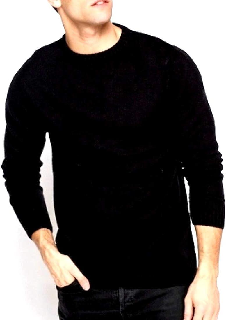 LIZ CLAIBORNE Apt 9 Mens Merino Wool Blend Sweater Crewneck Solid Black Big Tall