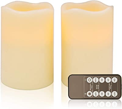 """D4"""" Ivory Flameless Candles LED Candle Realistic Flickering Electric Candles Battery Operated, Ivory Real Wax LED Pillar Candle Sets (Ivory, Set of 2)"""