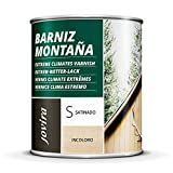 BARNIZ MADERA MONTAÑA (Barniz madera exterior-interior, barniz madera incoloro-transparente). Especial resistencia en zonas montañosas (750 ml, SATINADO)