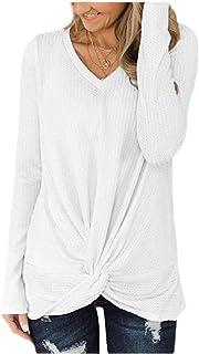Women's Long Sleeve Solid Casual T Shirts Knot Twist Tunics T-Shirt Blouses