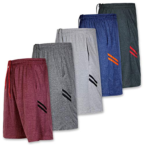 Mens Quick Dry Fit Dri-Fit Active Wear Athletic Performance Basketball Tennis Soccer Running Essentials Gym Casual Workout Tech Shorts-Set 6,Large