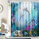 LB 150x180cm Duschvorhang Lustige Delfin Fisch Bunte Korallen im Blau Meer Polyester Wasserdicht Antischimmel Badezimmer Gardinen mit 10 Haken,Unterwasserwelt für Kinder