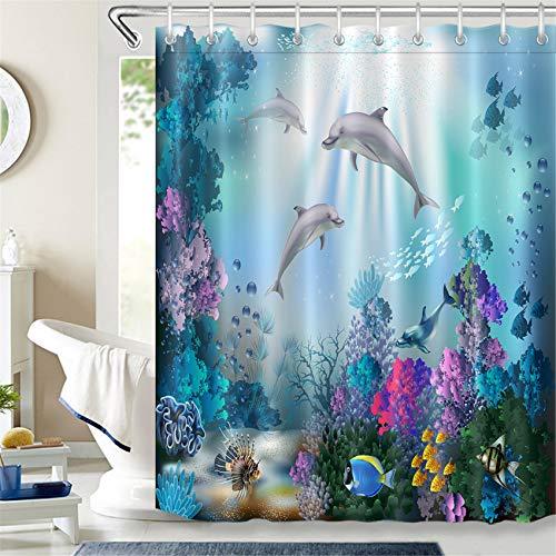 LB 150x180cm Duschvorhang Lustige Delfin Fisch Bunte Korallen im Blau Meer Polyester Wasserdicht Antischimmel Badezimmer Vorhänge mit 10 Haken,Unterwasserwelt für Kinder