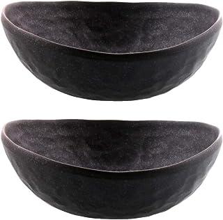 テーブルウェアイースト 和の楕円鉢 黒いぶし 2個セット 食器セット ボウルセット