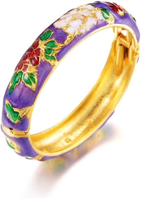 N/D Thick Retro Ethnic Bracelet Cloisonne Gold Hinge Cuff Jewelry Bangle Enameled Peony Flower Hand Ornament for Adult Women Girls Gifts Purple