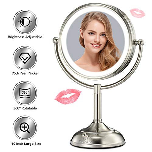 VESAUR Professional 10' [Large Size] Lighted Makeup Mirror, 5X Magnifying Vanity Mirror with 48 Medical LED Lights, Senior Pearl Nickel Cosmetic Mirror, Brightness Adjustable (0-1000Lux)